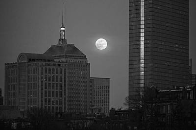 Photograph - The Moon Rising Over Boston Black And White by Toby McGuire
