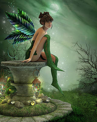Digital Art - The Moonlight Fairy by Jayne Wilson
