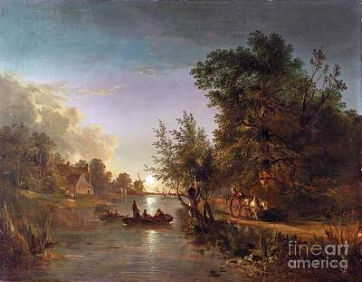 Forest Painting - The Moonlit Ferry Crossing by MotionAge Designs