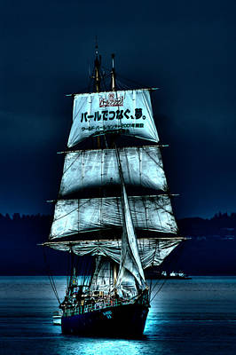Photograph - The Moonlit Kaisei Brigantine Tall Ship by David Patterson