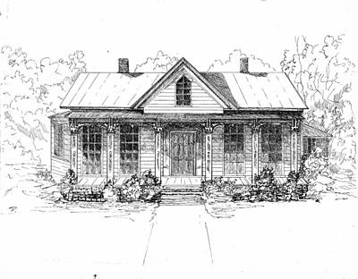 Macon Drawing - The Moore House by Barney Hedrick