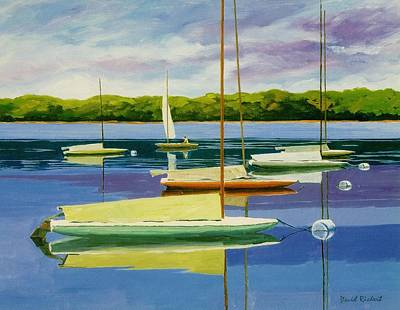 Waterscape Painting - The Moorings by David Rickert