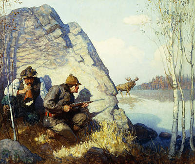 Lying In Wait Painting - The Moose Call by Newell Convers Wyeth