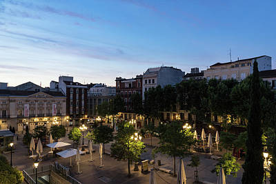 Photograph - The Morning After - Empty Plaza De Santa Ana At Dawn by Georgia Mizuleva