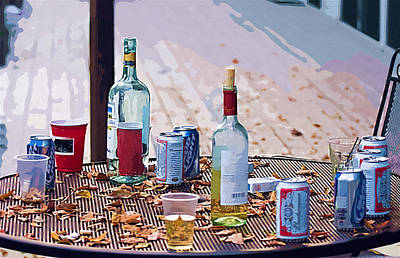 Plastic Bottle Digital Art - The Morning After The Party by Ginger Wakem