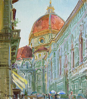 Florence Italy Painting - The Morning In The Cathedral Square by Victoria Kharchenko