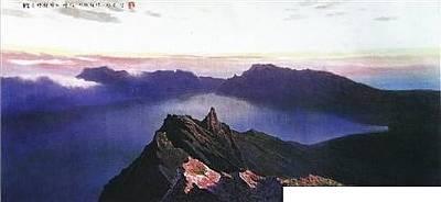 North Korea Painting - The Morning Of The Lake Of Heaven On Mt. Baekdu by Wuyeong Seon