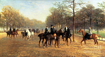 London Painting - The Morning Ride Rotten Row Hyde Park by Heywood Hardy