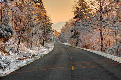 Winter Road Scenes Photograph - The  Morning Shines by Mike Eingle