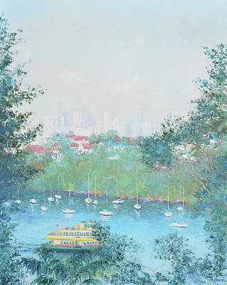 Painting - The Mosman Bay Ferry And Sydney Skyline by Jan Matson