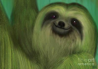 The Mossy Sloth Art Print by Nick Gustafson