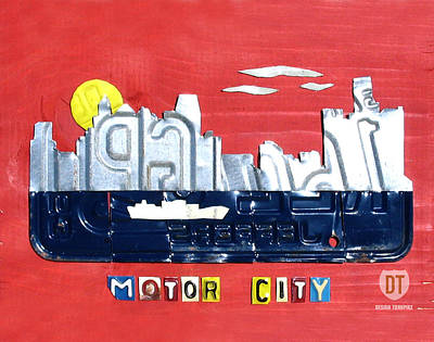 Handmade Mixed Media - The Motor City - Detroit Michigan Skyline License Plate Art By Design Turnpike by Design Turnpike