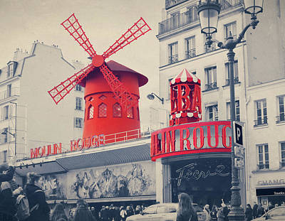 Prostitution Digital Art -  The Moulin Rouge With Retro Vintage Instagram Style Filter Effe by Cranach Studio