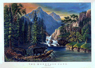 Painting - The Mountain Pass - Sierra Nevada by Currier and Ives - Joy of Life Art