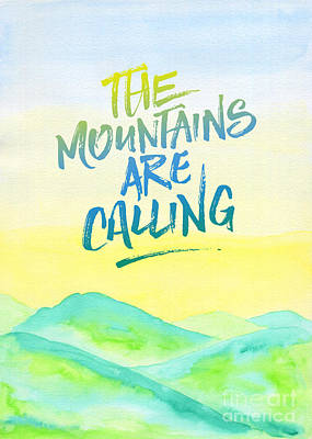 The Mountains Are Calling Yellow Blue Sky Watercolor Painting Art Print by Beverly Claire Kaiya