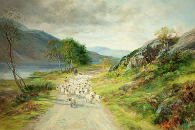 Scottish Dog Painting - The Mountains Of Moidart by John MacWhirter