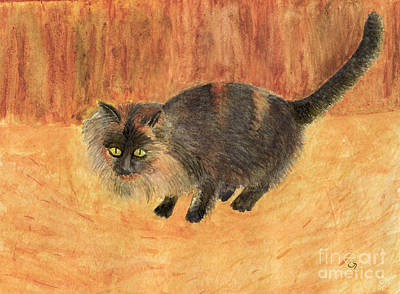 Tortie Painting - The Mouser, Barn Cat Watercolor by Conni Schaftenaar