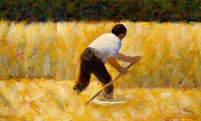 Corn Painting - The Mower by Georges Pierre Seurat
