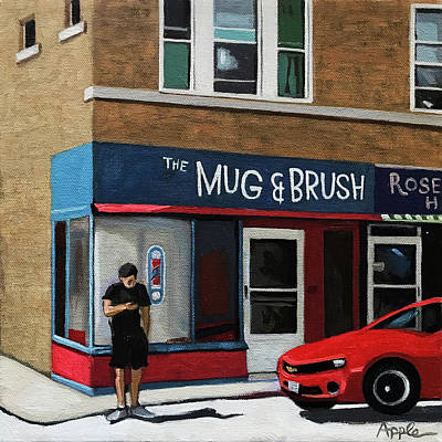 Painting - The Mug And Brush - Urban Painting by Linda Apple