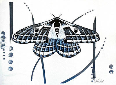Painting - The Multifarious Paths Of The Emperor Moth by Jean Fry