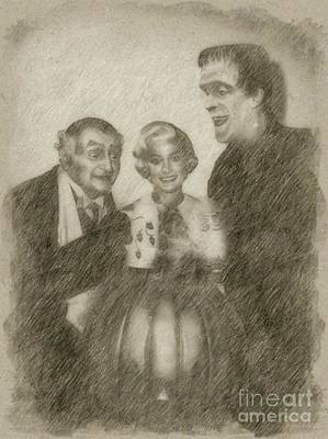 Classic Portrait Drawing - The Munsters by Frank Falcon
