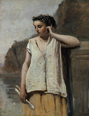 Myths Painting - The Muse, History by Camille Corot