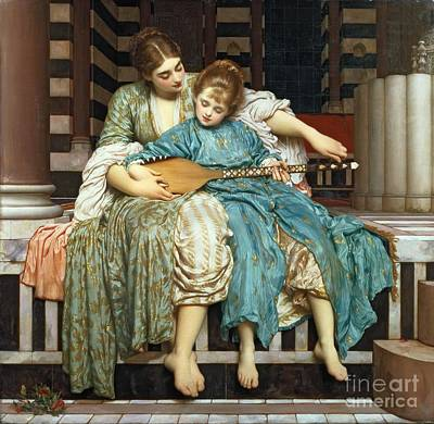 Pre-raphaelite Painting - The Music Lesson by Frederic Leighton