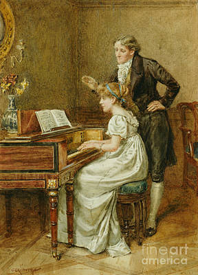 The Music Lesson Painting - The Music Master by George Goodwin Kilburne