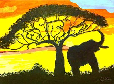 African Resort Painting - The Music Tree by Larry Lamb