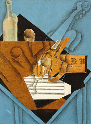 Newspaper Collage Painting - The Musician's Table by Juan Gris