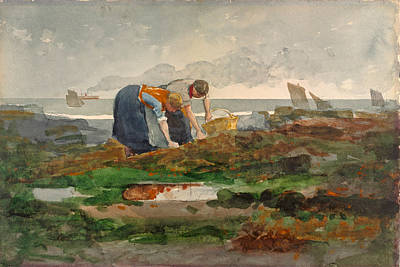 Winslow Homer Drawing - The Mussel Gatherers by Winslow Homer