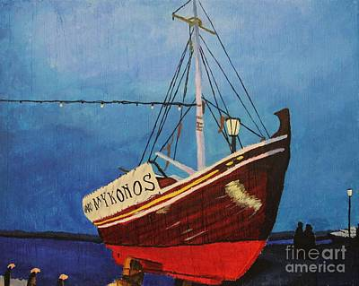 Painting - The Mykonos Boat by Marina McLain