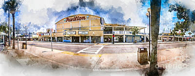 Digital Art - The Myrtle Beach Pavilion - Watercolor by David Smith