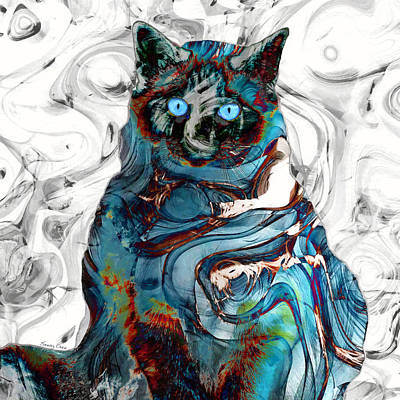 Watercolor Pet Portraits Mixed Media - The Mysterious Cat by Stacey Chiew