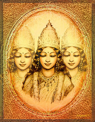Spiritual Art Mixed Media - The Mystery Of The Goddess by Ananda Vdovic