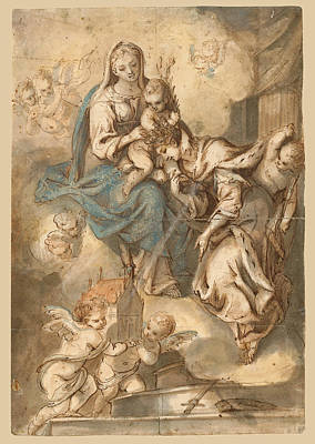Angel Blues Drawing - The Mystic Marriage Of Saint Catherine by Johann Andreas Wolf