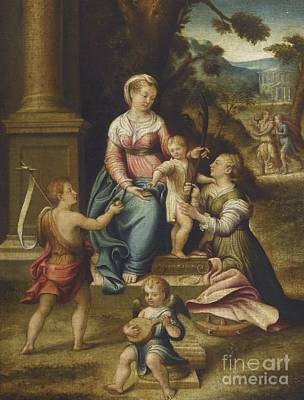 Longhi Painting - The Mystic Marriage Of Saint Catherine by Celestial Images
