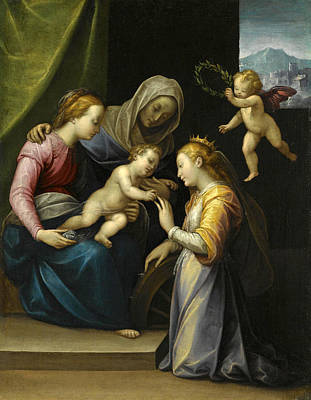 Painting - The Mystic Marriage Of Saint Catherine by Workshop of Guglielmo Caccia