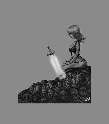 Cartton Digital Art - The Mystical Sword Black Version by Winston Wesley Art