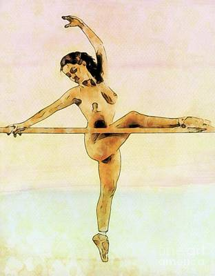 Panties Digital Art - The Naked Ballerina By Mary Bassett by Mary Bassett