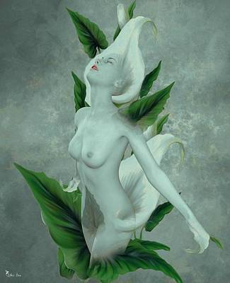 Digital Art - The Naked Calla by Ali Oppy
