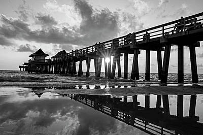 Naples Pier At Sunset Naples Florida Black And White Art Print