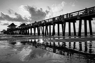 Naples Pier Photograph - Naples Pier At Sunset Naples Florida Ripples Black And White by Toby McGuire