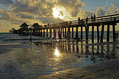 Naples Pier Photograph - Naples Pier At Sunset Naples Florida Ripples by Toby McGuire