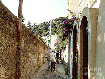 Photograph - The Narrow Walled-in Mountainous Streets In Anacapri, Italy by Merton Allen