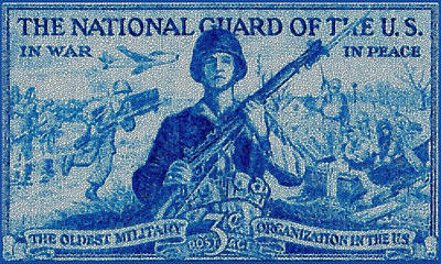 Army Air Service Painting - The National Guard Stamp by Lanjee Chee