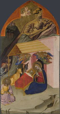 Nativity Digital Art - The Nativity And Annunciation To The Shepherds by Jacopo di Cione and workshop