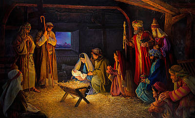 Mary Painting - The Nativity by Greg Olsen