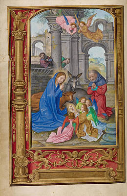 Joseph And The Angel Painting - The Nativity by Simon Bening