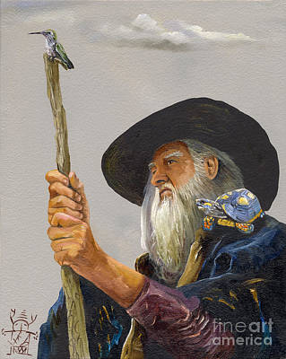 Conjurer Painting - The Navigator With Gps by J W Baker